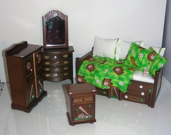 Little Slugger BASEBALL Dollhouse Boy's Twin Bed Bedroom Set Hand Painted Custom Dressed 1:12 Scale Miniature