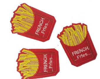 Iron On French Fries Patch Applique, Chips Food Hot Fix Badges Appliques 2 pcs
