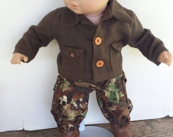 "American Girl 15 ""Bitty Twins Bitty Baby  Doll Clothing - Camouflage Cargo Pants and Brown Linen Cargo Vest Boy doll"