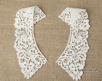 White Beige Black Collar Lace, transparent collar, Embroidery, Appliques,Fabric,Diy,Sewing (CA35)