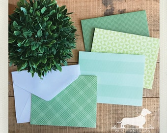 CLEARANCE! Greenery. Note Cards (Set of 4) -- (Vintage-Style, Geometric, Green, Pantone 2017, Thank You Card, Cute Hello, Mint, Stripe Grid)