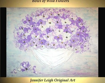 Original Large Abstract Painting Modern Acrylic Painting Oil Painting Canvas Art Wild Flowers White Purple 18x24 Textured Wall Art  J.LEIGH