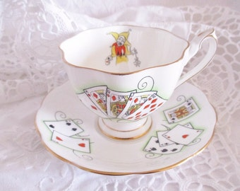 """Vintage card players """"Lady Luck"""" teacup and saucer by Queen Anne,  Royal Flush card players tea set, excellent condition"""