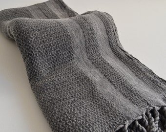 Turkish peshtemal Towel towel soft Cotton Stone washed thick Aegean towel in dark grey pure soft