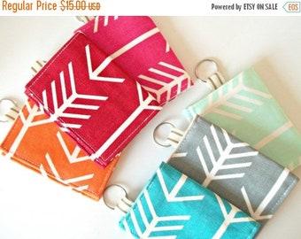HURRY FLASH SALE Arrow Business Card Holder - Velcro Keychain Wallet - Arrow Fabric Wallet