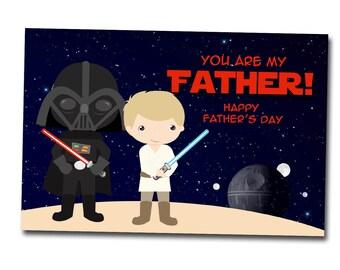 Sta Wars Father's day card, dad day printable jedi card, instant download, digital file, Darth Vader, Luke Skywalker
