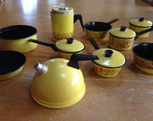 vintage tin litho toy cookware set yellow with mushroom / toadstool design (17 piece set)