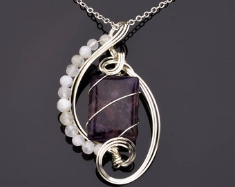 Rectangular Amethyst Cabochon Sculpted (Wire Wrapped) in Argnetium Sterling Silver with Moonstone Highlights