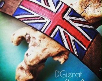 UK Flag Leather Wristband, UK Bracelet
