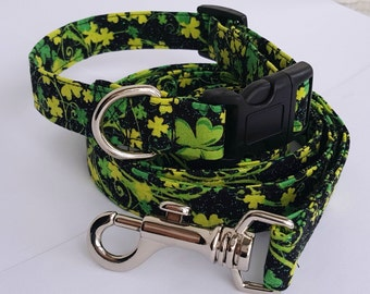 Shamrock dog collar and leash - st patricks day, matching set, green, sparkle, glitter, black