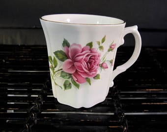 Vintage 50's Royal Grafton rose flower design bone china mug Made in England