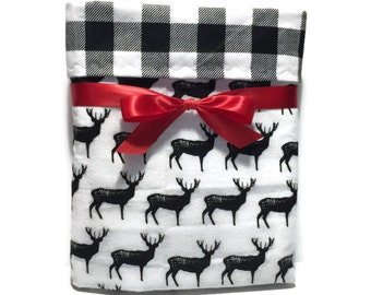 Flannel Baby Blanket - Baby Boy Blanket - Deer Blanket - Rustic Baby Bedding - Buffalo Plaid Baby - Crib Blanket - Cot Blanket - Baby Gifts