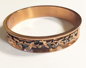 Renoir Copper Bangle, Floral, Leaf, Vintage Jewelry, CHRISTMAS SALE