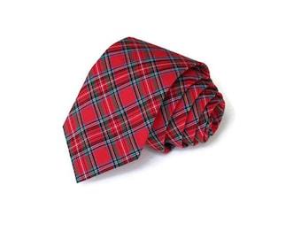 Tartan Plaid Mens Necktie~Cotton Necktie~Anniversary Gift~Wedding Tie~Plaid Necktie~Mens Gift~Skinny Tie~Winter Wedding~Christmas Tie~