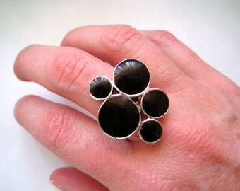 90s Statement Ring, Black Bubble Ring, Adjustable Ring, Geometric Ring, Party Ring