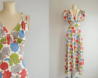 Vintage 30s Maxi Dress / 1930s Bias Cut Floral Print Cotton Sundress with Bolero Jacket / White Grey Red Blue