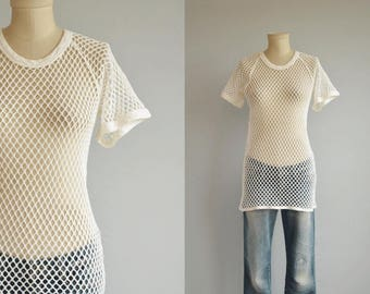 Vintage 60s Tee Shirt / 1960s Norse Net Mesh Tshirt / Vintage Duofold Thermal Underwear Beach Cover Up