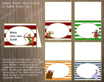 Robin Hood Place Cards or Table Tents ~INSTANT DOWNLOAD~