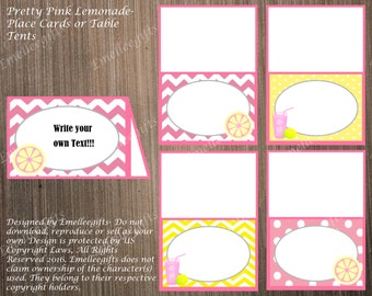 Pretty Pink Lemonade Place Cards or Table Tents ~INSTANT DOWNLOAD~