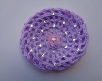 Medium Bun Cover with Rhinestones & Butterfly, 24 Colors, Crocheted Bun Holder, Bun Cover, Bun Maker, Snood, Ballet, Dance