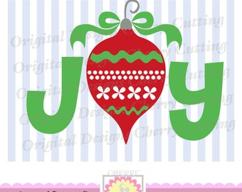 Christmas JOY with Ornament, Christmas Ornament SVG, Christmas Silhouette Cut Files, Cricut Cut Files CHSVG07-Personal and Commercial Use