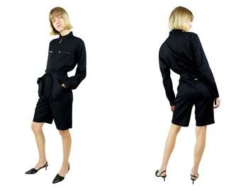 AGNÈS B. Black Cotton Jumpsuit