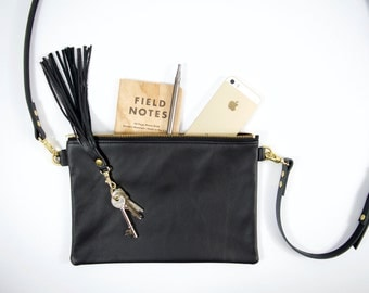 Minimalist LEATHER bag - IONA - Ebony Black leather crossbody shoulder purse clutch with adjustable leather strap