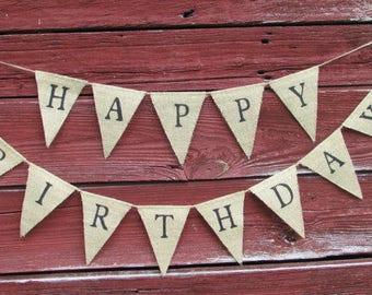 Happy Birthday Burlap Banner, Happy Birthday Pennant, Birthday Bunting, Birthday Decor, Rustic Birthday Decor