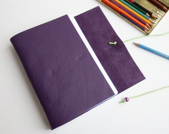 Purple Leather Wrap Journal, Leather Artist Sketchbook, Hand Bound Wrap Notebook, Bucket List, Memory Journal, Gratitude Journal
