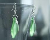 RESERVED** SIARA earrings, sea green dangle earrings, asymmetrical earrings