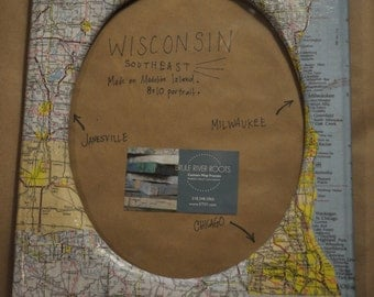 8x10 Circle Portrait | Wisconsin | Madison | Milwaukee | Map Picture Frame