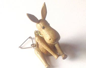 Vintage Zoo Line wood Donkey with metal ring and pin matchbox