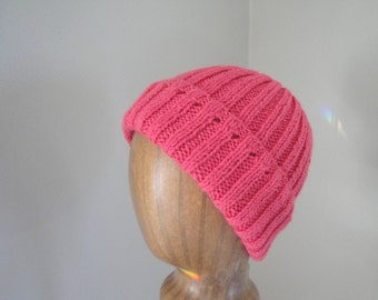 Women's Knit Beanie Hat, Watch Cap Style, Bright Pink Wool Blend, Tween Teen Girls Warm Cap