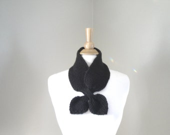 Dark Brown Ascot Scarf, Pull Through Keyhole, Pure Cashmere, Small Neck Scarf, Hand Knit Neck Warmer