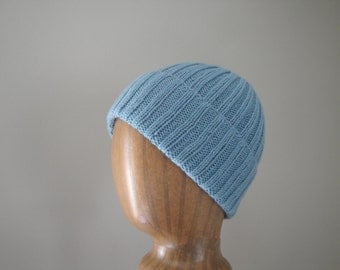 Knit Cashmere Hat, Medium Sky Blue, Beanie Watch Cap, Luxury, Gift for Him Her
