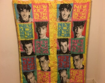 vintage sleeping bag, New Kids on the Block Sleeping Bag, NKOTB Blanket, Bedding, 80s Sleeping Bag
