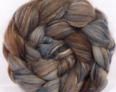 Batt in a Braid #5 -Hand dyed top for spinning -Soot - (4.8 oz.) merino/ camel/silk/faux cashmere/firestar (25/25/25/12/12)