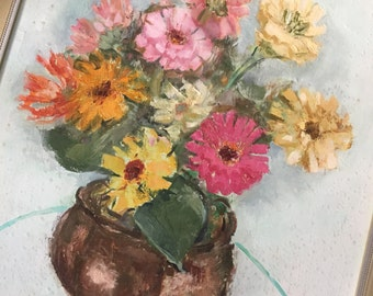 Wonderful vintage oil or acrylic still life painting, zinnias, pinks, pale blue and yellows, framed