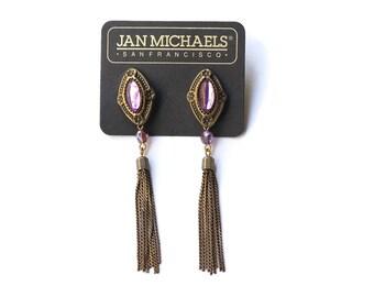 Vintage Designer Jan Michaels Statement Tassel Earrings