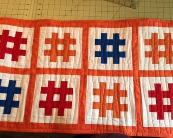 Quilted Hash Tag table runner