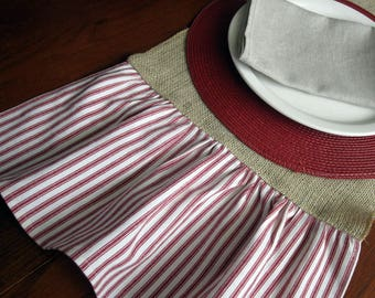 Burlap Runner with Red Ticking Stripe Ruffle, 84.5 X 13
