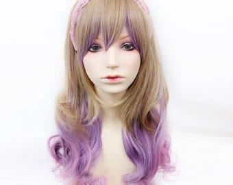 Long Curly Wavy Kawaii Lolita Cosplay Gradient Ombre Brown Blonde Purple Bangs Synthetic Hair Wig