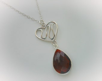 Mother of the Bride Gift,Heart Necklace, Garnet, January Birthday, Mother of the Groom, Teardrop Necklace,Wedding Jewelry, Sterling Silver