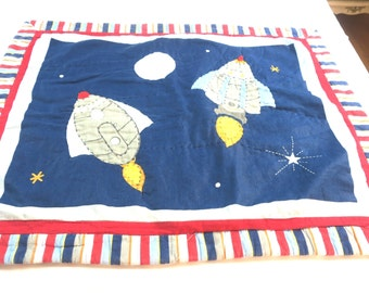PILLOW SHAM... Appliqued  Rocket ships Red white and blue & Stripes 24 x 29 100% Cotton