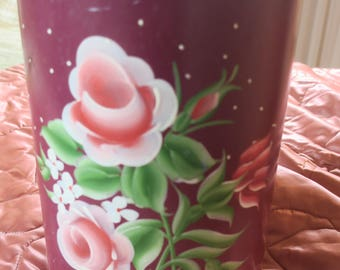 "Wastebasket Tin Tole Maroon w Pink Roses and open work12"" tall"