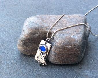 Sea glass jewelry,  Bezel set blue sea glass and starfish fine silver precious metal clay necklace
