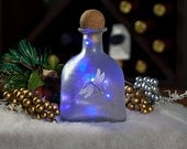 Lighted Wine Bottle, Hand Painted - Dragonfly - Gifts for Women, Battery Operated Purple LED Lights, Frosted Glass, Night Light, Accent Lamp