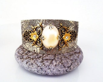 20% OFF Victorian Cuff Bracelet Silver Gold Brass Pearl Floral Vintage Style Jewelry