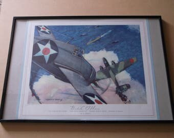 "Vintage Charles H.Hubbell Print ""Butch"" O'hare, Framed"