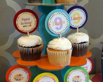 CHEVRON ART PARTY Happy Birthday Cupcake Toppers 12 {1 Dozen} - Party Packs Available